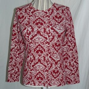 TALBOTS PETITES Red & White Damask Cotton Knit Top